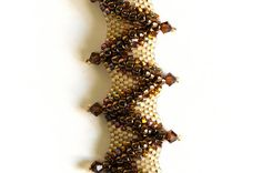Seed Bead Bracelet in Smoked Topaz Crystals by KKbraceletsandmore