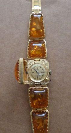 Vintage Gold Baltic Cognac Amber Watch/ Wind Up/ Women