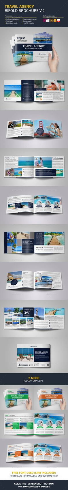 Travel Agency Bifold Brochure Template Vector EPS, InDesign INDD, AI Illustrator