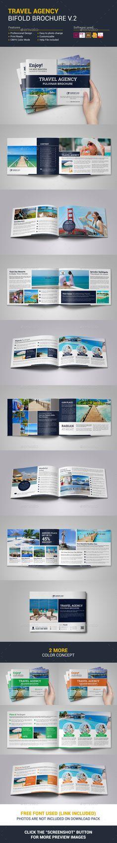 Travel Agency Bifold Brochure Template Vector EPS, InDesign INDD, AI Illustrator