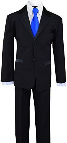Big Boys Tuxedos Suit with a Royal Blue Neck Tie This Boys Tuxedo Suit is perfect for any special occasion. It includes a boys tuxedo jacket with satin labels, Black Tuxedo Suit, Boys Tuxedo, Formal Tuxedo, Tuxedo Dress, Black Suits, Purple Bow Tie, Green Tie, Ring Bearer Suit, Western Suits