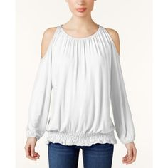 Inc International Concepts Off-The-Shoulder Top, ($27) ❤ liked on Polyvore featuring tops, blouses, bright white, cut off shoulder top, off shoulder peasant blouse, cold shoulder blouse, peasant blouse and off the shoulder peasant tops