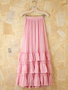 Vintage Pink Cotton Long Skirt