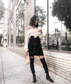 IRO | black button down skirt seen on #fblogger Chriselle Lim