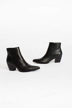 Textured vegan leather ankle boots featured in a western-inspired silhouette.* Stacked heel* Pointed toe* Padded footbed* Inside zip closure* Part of an exclusive collaboration with Matisse for Free People Crazy Shoes, On Shoes, Black Shoes, Me Too Shoes, Shoe Boots, Shoe Bag, Black Booties, Vegan Leather, Black Leather