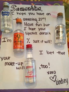 21st birthday card gift idea ideas girl DIY. Made this for my roommate. I hope you have an ABSOLUT ely amazing 21st! Have fun but I hope your lipstick doesn't SMIRNOFF. I'm 99% sure it will! I bet that your makeup will SMIRNOFF too.