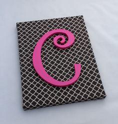 Wall Art // Monogram Canvas Art // Gray Quatrefoil and Pink Monogram Canvas by LittleMooseStudio on Etsy