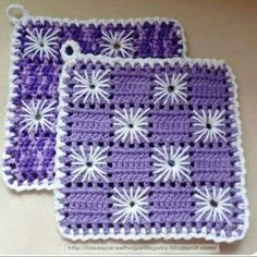 Mitts with embroidery hook Crochet Potholder Patterns, Crochet Bedspread Pattern, Crochet Mandala Pattern, Crotchet Patterns, Crochet Dishcloths, Granny Square Crochet Pattern, Crochet Chart, Crochet Squares, Crochet Kitchen