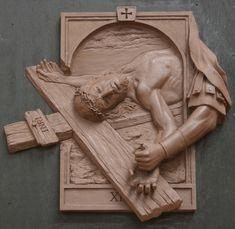 Fourteen Stations of the Cross Sculpture,Catholic Art,Koh-Varilla Guild Chicago Christian Symbols, Christian Art, Catholic Art, Religious Art, Wood Carving Art, Wood Art, Wood Sculpture, Sculptures, King Picture