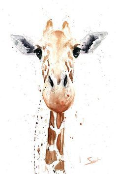 GIRAFFE PAINTING giraffe watercolor animal art by SignedSweet: