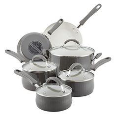 Farberware 16430 10 Piece New Traditions Aluminum Nonstick Cookware Set One Size Gray
