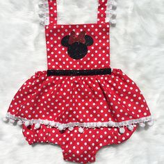 Minnie in Red Bow Sparkle Romper with Skirt #bellethreadspinterest