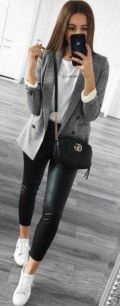 #spring #outfits woman in gray coat, white crew-neck shirt, and black leggings taking selfie. Pic by @milano_streetstyle Gucci Marmont, Gucci Bags, Chain Shoulder Bag, Leather Jacket, Studded Leather Jacket, Gucci Purses, Leather Jackets, Gucci Handbags, Leather Blazer