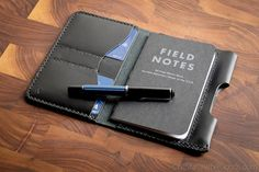 The Park Sloper Senior, wallet+notebook+pen sleeve, Horween Chromexcel leather, jeans pocket wallet, writing accessory, pen wallet - black
