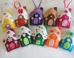 Fall in love with my big beautiful over the top handmade felt gingerbread house ornaments purchase entire 20 piece set  35.00 off reg price