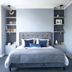 Blue bedrooms, bedroom carpet colors, blue bedroom decor, light blue be Blue Gray Bedroom, Blue Bedroom Decor, Blue Rooms, Home Bedroom, Modern Bedroom, Bedroom Carpet, Bedroom Furniture, Bedroom Colors, Bedroom Alcove