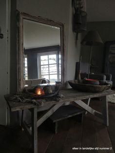 sfeer in landelijke stijl nummer 2: blijer dan blij:))) Sober, Side Tables, Benches, Oversized Mirror, Spaces, Living Room, Furniture, Home Decor, Deko