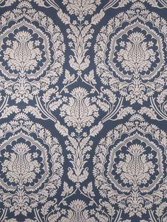 Fabricut Fabric 1238902 Turin Cobalt Damask Studio Rayon, Polyester USA See Sample Horizontal: 27 inches and Vertical: 27 inches 54 inches - My Fabric Connection - Fabric Decor, Fabric Design, Pattern Design, Modern Floral Wallpaper, Fabric Outlet, Art Chinois, Fabricut Fabrics, Blue And White Fabric, Traditional Fabric