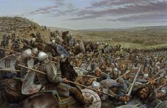 Norse horsemen fight Anglo-Saxon soldiers at the Battle of Hastings, England, in 1066.