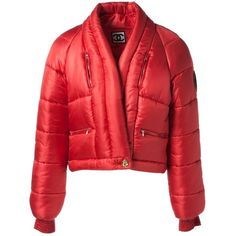 Pre-owned Chanel Silk Puffer ($1,603) ❤ liked on Polyvore featuring red, women clothing coats and chanel