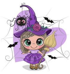 Illustration about Cute cartoon witch in purple dress and hat. Illustration of illustrations, celebrations, flowers - 157276780 Halloween Cartoons, Halloween Doodle, Halloween Painting, Halloween Drawings, Halloween Clipart, Halloween Rocks, Fall Halloween, Halloween Crafts, Happy Halloween