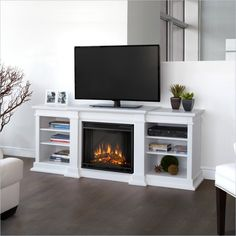 Real Flame Fresno Electric Fireplace TV Stand in White Finish cymax.com