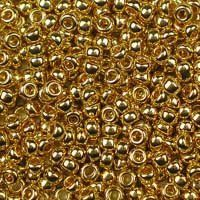 Miyuki 11/0 (2mm) 24kt Gold-Plated glass seed beads, colour number 191. A beautiful, bright luxury bead plated with real 24kt gold. UK seller.