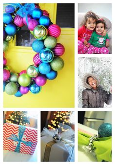 DIY ornament wreath.  gift wrapping tips.