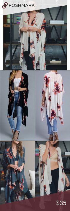 "K I M O N O Floral print Kimono wrap with armholes. Size 38""x46"".  % viscose. Tops Tunics"