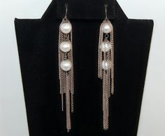 60's sterling cultured pearl mermaid princess shoulder duster statements, long edgy bride 925 silver chains & pearls chandelier earrings, HH by BetseysBeauties on Etsy