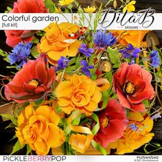 DitaB Designs:  NEWCOLLECTION COLORFUL GARDEN individual pa... Colorful Garden, Digital Scrapbooking, Overlays, Floral Wreath, Wreaths, Plants, Inspiration, Collection, Design