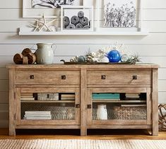 rustic natural wood tv stand that could also be used as a entryway table, sideboard, or living room piece. Really beautiful piece that fits in a farmhouse, modern, or traditionally styled house. Tv Media Stands, Tv Stands, Tv Stand Pottery Barn, Small Tv Stand, Kiln Dried Wood, Beach House Decor, Home Decor, Beach Condo, Wood Drawers