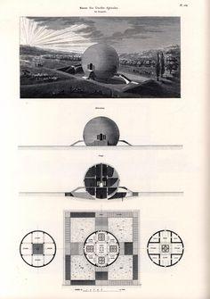 Voici un dessin de l'architecte néoclassique Claude Nicolas Ledoux (1736-1806), il présente une maison de garde agricole sphérique.