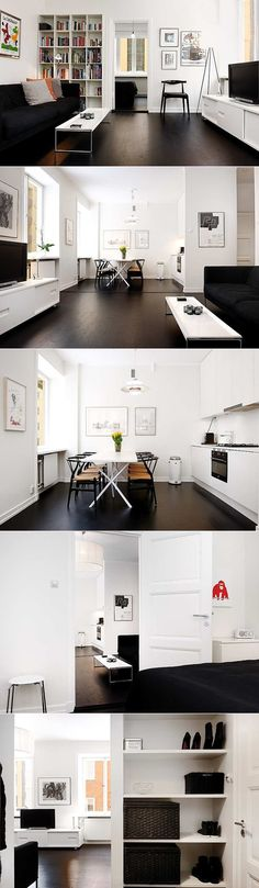 """""""This great one bedroom apartment features splendid renovations, beautiful wood floors, a tastefully renovated kitchen with a space for a dining table that fits 8-10 guests, high ceilings (2,85m) and double exposures."""" Black and white are the colour inspirations."""