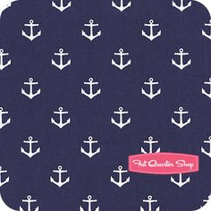 All Hands on Deck Navy Anchors Yardage SKU# STELLA-JL17-NAVY - Fat Quarter Shop