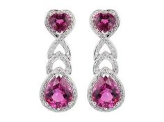 18 Karat White Gold Drop Earrings Consisting Of 2 Heart Shape And Two Pear Shape Pink Tourmalines Having An Approximate Total Weight Of 6.00 Carats Accented With Full Cut Round Diamonds Having A Total Approximate Weight Of 1.00 Carats.