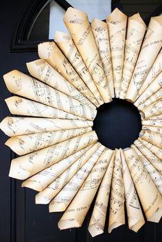 music sheet wreath