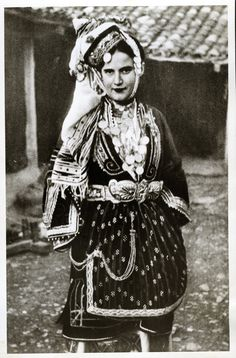 Photo of a woman wearing the bridal or festive costume of Episkopi, Imathia, Macedonia.Creation Date: Peloponnesian Folklore Foundation Provider: Europeana Fashion Providing Country: Greece Greek Traditional Dress, Traditional Outfits, Rare Clothing, Historical Clothing, Greek Dancing, Greece Photography, Greek Culture, Folk Costume, Ancient Greece