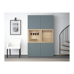 BESTÅ Storage combination w glass doors - white stained oak effect/Valviken grey-turquoise clear glass - IKEA