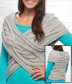 Free Knitting Pattern for One Piece Fold and Seam Cable Cross Shrug / Vest - Easy project knit in one piece that is seamed at the ends and across the back to form arm holes. Designed by Willow Yarns. Sizes: Small (Medium, Large)