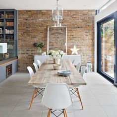 Fireplace Shelves, Brick Fireplace, Room Shelves, Brick Wall Kitchen, Kitchens With Brick Walls, Brick Wall Decor, Brick Room, Fireplace Kitchen, Farmhouse Fireplace