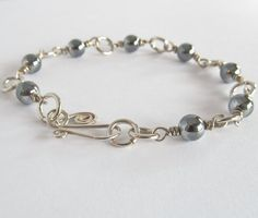 Silver Wire Wrapped Bead Bracelet  Silver Wire by OmiSilver