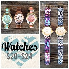 Watch LOVE!! Which one of these great watches would you wear?? Only $20-$24!! Limited quantities so hurry in!  #seasonsboutique #watches