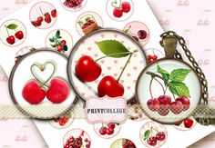 Cherries  4 Digital Printable Sheets 1.5 inch by PrintCollage, $4.30