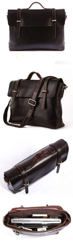 Best Gift Idea For me Crazy Horse Leather Briefcase Laptop Messenger Bag Ipad Macbook Bag Leather Laptop Bag, Leather Briefcase, Business Briefcase, Macbook Bag, Laptop Messenger Bags, Laptop Backpack, Leather Portfolio, Leather Men, Leather Bags