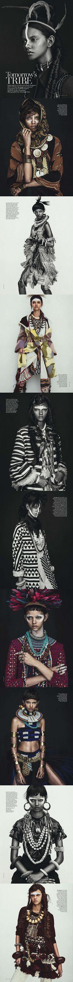 Vogue Australia April 2014 || Title: Tomorrow's Tribe || Model: Marina Nery || Photographer: Sebastian Kim || Fashion Editor: Katie Mossman || Hair: Bok-Hee || Make-up: Mariel Barrera #fashion #edito