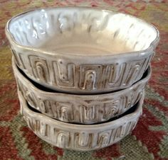 White Industrial Rustic Bowls, Mark Strayer, North Star Pottery