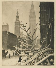 New York City, circa 1914. Photograph by Alfred Stieglitz. The tower on the left in the background belongs to the second Madison Square Garden, on the right is the very much still existing Met Life Tower