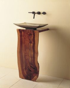 Wood L-Slab pedestal sink,made by Stone Forest Design Wood Furniture, Furniture Design, Wc Decoration, Wood Pedestal, Into The Woods, Live Edge Wood, Wood Countertops, Wood Slab, Wood Design