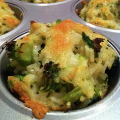 Baked Cheddar-Broccoli Rice Cups #recipe (great way to use up leftover rice) #glutenfree